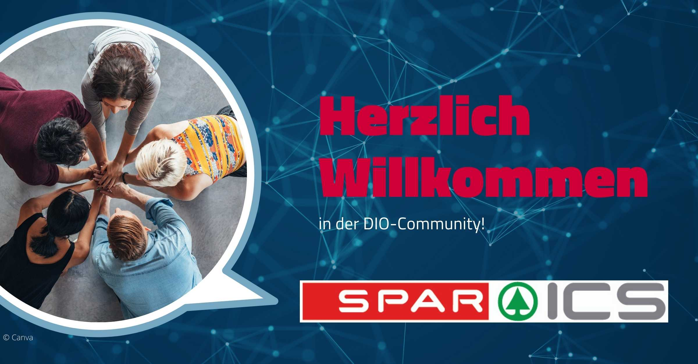 Beitragsbild mit den Worten Herzlich Willkommen in der DIO Community SPAR ICS